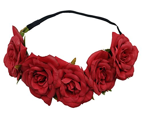 Sanrich Rose Flower Crown Fake Flower Crowns Headbands For Women Girl Rose Floral Head Piece Maternity Photoshoot Realistic Hair Crown Pet Headband Flower Wreath (red)