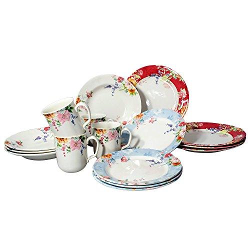 China Dinnerware Set (Tudor 16-Piece Porcelain Dinnerware Set, Service for 4 - CRIMSON, SEE 10 OTHER DESIGNS)
