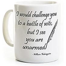 Funny Shakespeare Coffee Mug - Battle of Wits - 11 Ounce Ceramic Mug