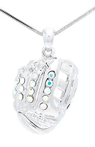 Violet Victoria & Fan Star Jewelry Softball Glove Necklace - Baseball Glove Necklace - Glove Pendant - AB ()