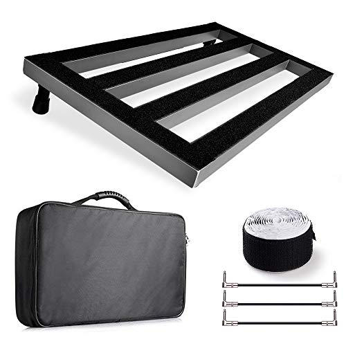 Pedal Board, Frunsi Large 22 x 12.6 inch Aluminum Guitar Pedalboard with 3 Patch Cables, Carry Bag