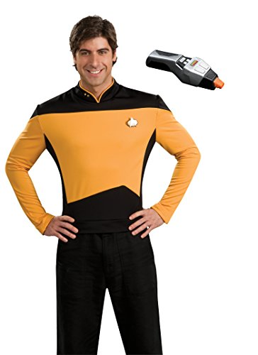 [Rubie's Men's Star Trek TNG Deluxe Operations Uniform Costume & Phaser, Gold, Small] (Star Trek Costumes For Men)