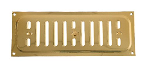 Bulk Hardware BH04350 Adjustable Hit and Miss Air Vent Grille, 240 x 90 mm (9.45 x 3.55 inches) - Polished Solid Brass Bulk Hardware Limited