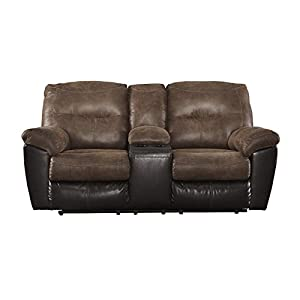 Ashley Furniture Signature Design – Follett Overstuffed Upholstered Double Reclining Loveseat w/Console – Contemporary – Coffee