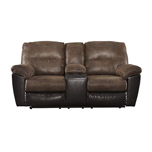 Leather Rustic Loveseat (Ashley Furniture Signature Design - Follett Overstuffed Upholstered Double Reclining Loveseat w/Console - Contemporary - Coffee)