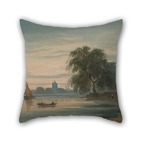 Cushion Cases 20 X 20 Inches / 50 By 50 Cm(2 Sides) Nice Choice For Bar Seat,gf,indoor,birthday,coffee House,couch Oil Painting John Varley - A View Along The Thames Towards Chelsea Old Church