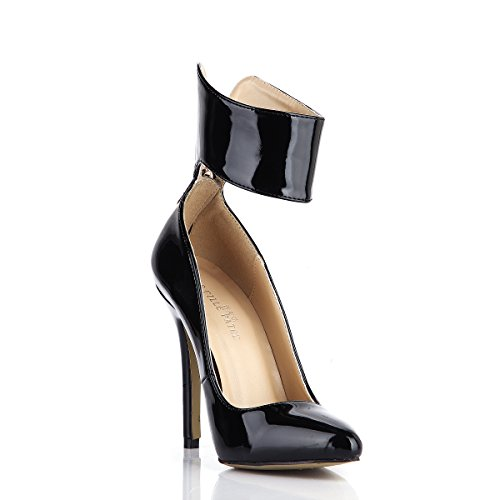 Escarpins Bout Pointu Talons Hauts Femmes Fashion Zip Dolphin Girl Stiletto Chaussures Noir