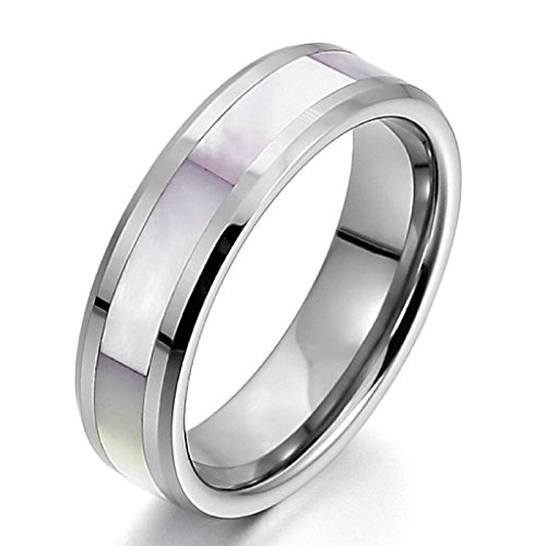 Epinki,Fashion Jewelry Men Women's Tungsten Mother of Pearl Abalone Shell Rings Band Silver Classic Size - Extended Sizes Mean Does What