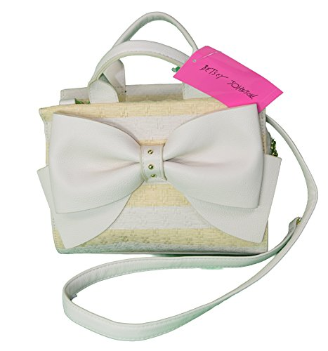 Betsey Johnson Big Bow Saturday Bone/natural Stripe Bow Satchel Cross Body Br24240