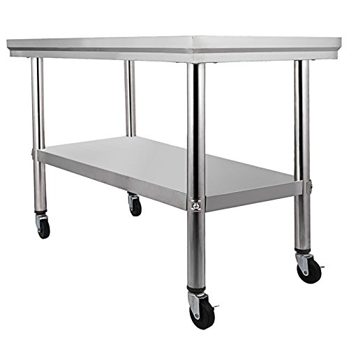 Mophorn NSF Stainless Steel Work Table With Wheels X Prep Table - Stainless steel work table with wheels