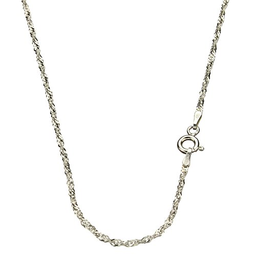 Sterling Silver Singapore Nickel Free Chain Necklace Italy, 16