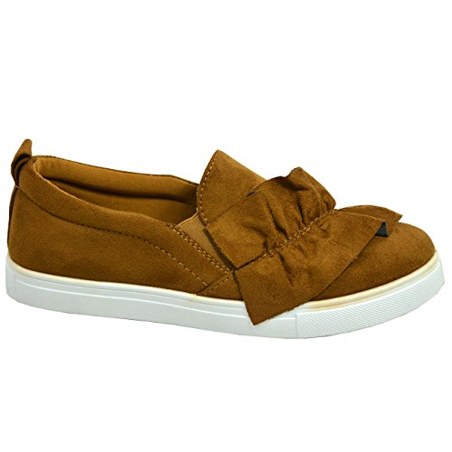 Sneakers Shoes Bow Womens Ladies Size New Comfy On 8 Cucu Fashion Slip UK Trainers Camel 3 Flats q1A8PtxS