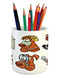 Lunarable Dog Lover Pencil Pen Holder, Dog Beauty Spa Toothy Smiling Sick Cheerful Looking Magnifying Action, Printed Ceramic Pencil Pen Holder for Desk Office Accessory, Cinnamon Coconut White