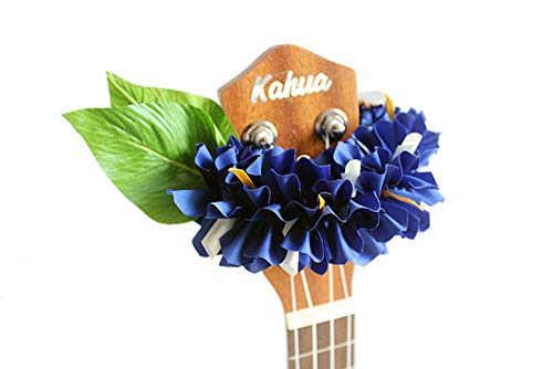 - ukuhappy Ukulele Ribbon Leis Hawaiian Crafts Ukulele Accessories Bougainvillea (blue)