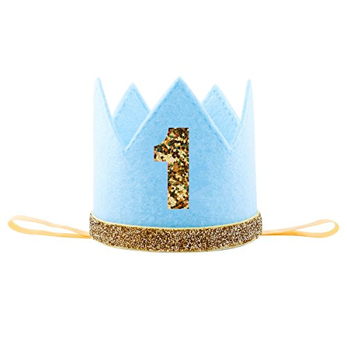 Floral Fall Baby Girl and Boy 1st Birthday Hat Photo Prop Sparkly Gold Crown Elastic Headbands HG-05 (Blue (First Birthday Boys)