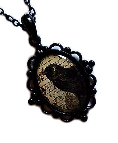 Black Framed Raven Cameo Pendant ()
