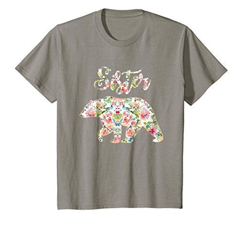 Sister Bear - Kids Sister Bear Floral Tee, Matching Floral Family Bear Shirt 6 Slate
