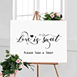 Love Is Sweet Sign Take A Treat Sign Rustic Chic Dessert Table Sign Wedding Refreshment Sign Candy Buffet Hand Lettered Sign