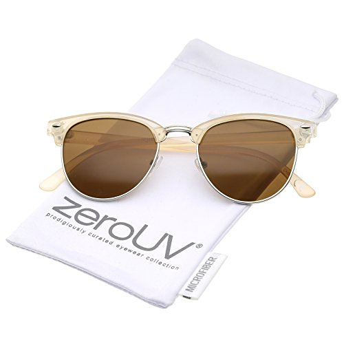 zeroUV - Small Horn Rimmed Metal Nose Bridge Round Lens Half Frame Sunglasses 49mm (Creme-Silver / - Sunglasses 49mm