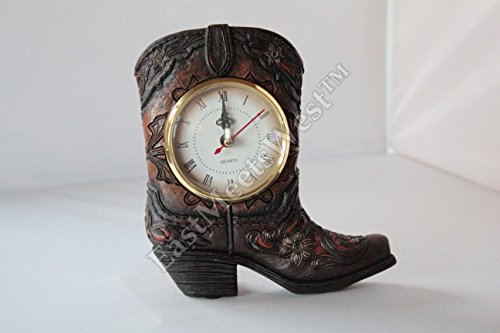 Western Cowboy Cowgirl Rustic Hand Tooled Boot Desk Shelf Electric Clock Home Office Decoration