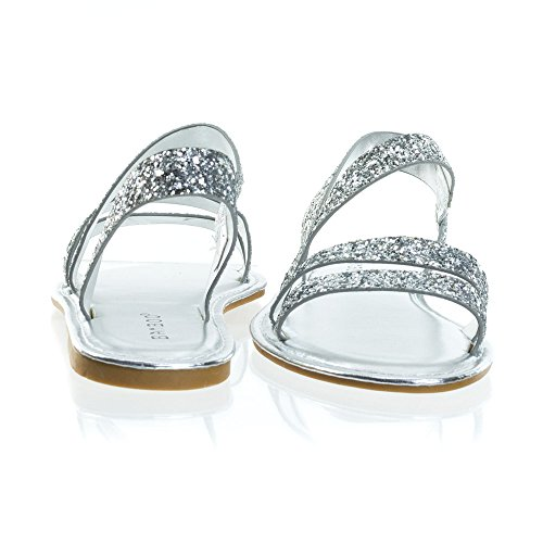 Cage Flat Glitter Slip On Silver Sandal Rock In Strappy qArAtxwHF