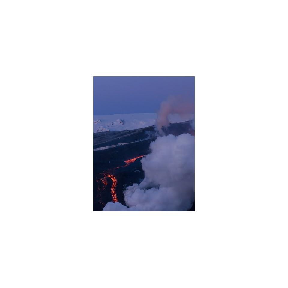 Lava Flowing Down Mountain, Eyjafjallajokull Volcano, Iceland, Polar Regions Photographic Poster Print, 12x16