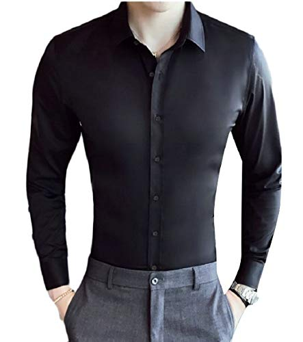 Fit Slim Classic Sleeve Sodossny Solid Long AU Dress Black Button Men's Down Shirts 1Ixgq