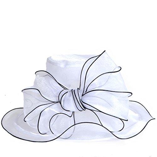 Sposa Da Derby Chiesa Tea bianco Floreale Della Bow Abito Corsa Donne Party Vecry Cappello Yxq7UBOx