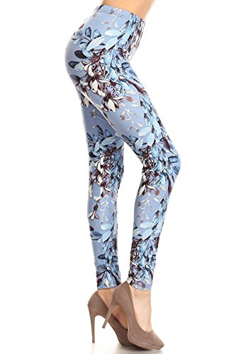 Private Label Womens Fall Winter Floral Print Leggings Soft Peachskin Ultra Stretch One Size Flower Runway Athletic Yoga Pants (Romantic Blue - Leggings Floral Print