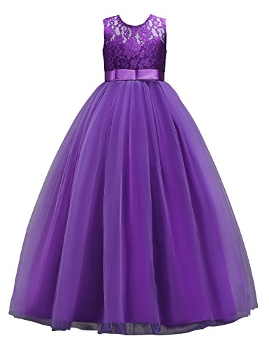 MUABABY Big Girls Lace Bridesmaid Dress Dance Gown A Line Dresses ()
