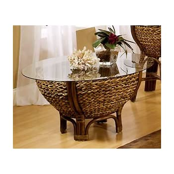 Tropical Rattan And Wicker Round Coffee Table With Glass Top   Maui From  Seawinds Trading