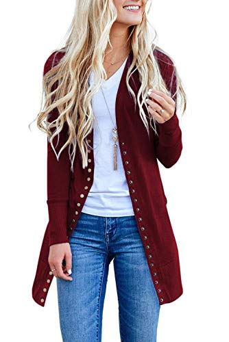 Asskdan Womens Long Sleeve Snap Button Down Cardigan Knit Ribbed Solid Cardigan Sweater Outwear