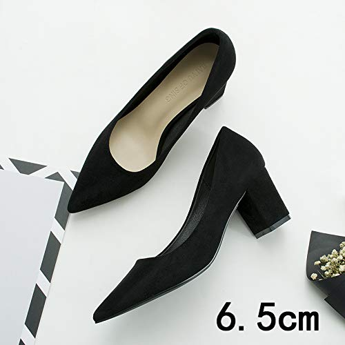 HRCxue Pumps Spitze einzelne Schuhe Frauen mit professionellen Damenschuhe Damenschuhe Damenschuhe Wildleder dicken Absätzen, 39, schwarz [6.5CM] 53d580