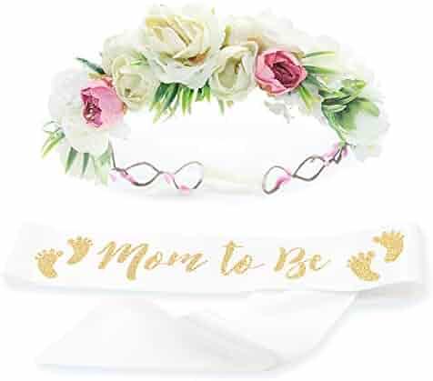 Baby Shower Mom Sash & Flower Crown Kit - Baby Girl Sash Princess Baby Shower Baby Sprinkle (White & Gold)
