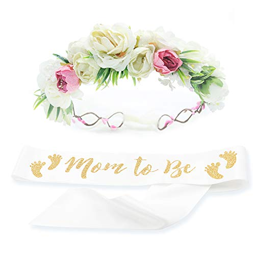 Baby Shower Mom Sash & Flower Crown Kit - Baby Girl Sash Princess Baby Shower Baby Sprinkle (White & Gold) ()
