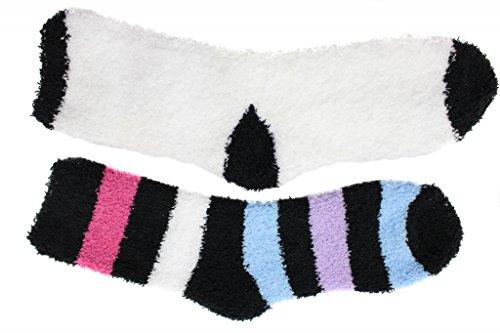Cozy Butter Slipper Socks 2 Pair White Black Multi-Stripe One Size