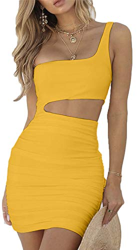 CHYRII Women's Sexy One Shoulder Sleeveless Cutout Ruched Bodycon Mini Club Dress Yellow-2, XL