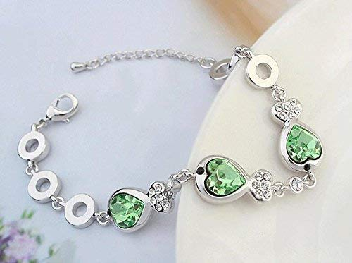 Women Elegant Leng Elegant Pretty Bracelet Extravagance Luxury Elegant Adjustable Bracelet Fashion Women's Fish-Shaped Design Crystal Bangle Bracelet(Olive Green)