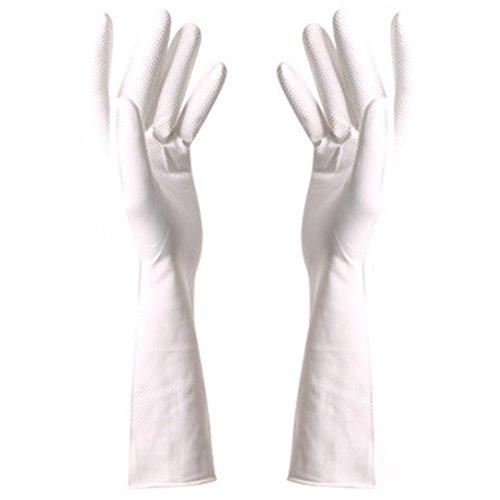 2 paires de gants en caoutchouc propres pour laver les plats gants imperméables, blanc