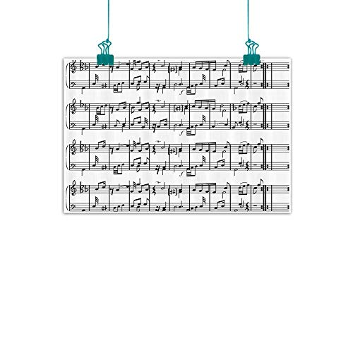 WinfreyDecor Music Decor Chinese Classical Oil Painting Musical Notes on The Clef Illustration Decorative Artistic Pattern Print for Living Room Bedroom Hallway Office 35