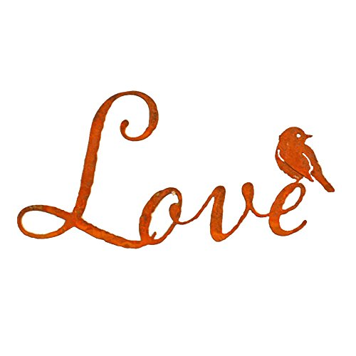 Patina Wall Decor (Elegant Garden Design Love Word Wall Art, Rusty Patina)
