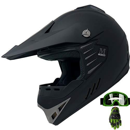 Dirt Youth Helmet Bike - Kid Youth ATV Motocross Dirt Bike Off-road Helmet Mountain Bike Helmet+Goggles+Gloves Combo (Matt Black_green, YL)