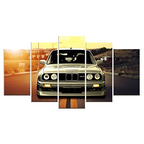 (Karen Max 5 Panels Wall Art Canvas Oil Painting Pictures BMW M3 Sports Car Landscape for Living Room Home Decor Poster Artwork New Home Gifts)