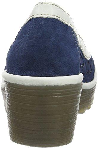 Fly London P500733005, Sandalias de Cuñas Mujer Azul (Blue/Offwhite 003)