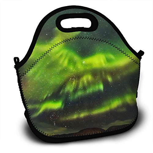 Dejup Lunch Bag Intense Aurora Tote Reusable Insulated Lunchbox, Shoulder Strap with Zipper for Kids, Boys, Girls, Women and Men -