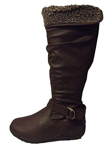 NEW LADIES EX YOURS CLOTHING KNEE HIGH TALL FLAT BOOTS 4 - 9 EEE WIDE FITTING BROWN