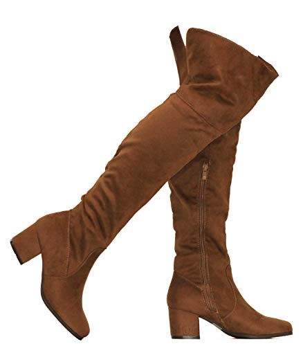 (MVE Shoes Womens Over The Knee Stretch Boot - Trendy Low Block Heel Shoe - Comfortable Easy Heel Boot, Tan 9)