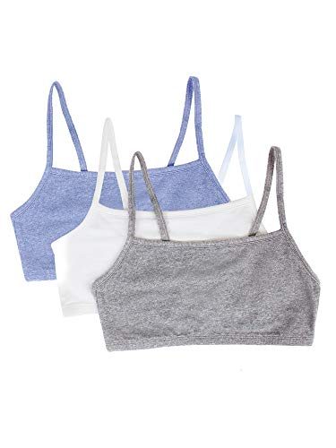 Fruit of the Loom womens Cotton Pullover Sport Bra, heather grey/white/heather blue 38