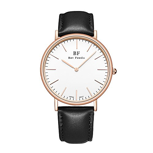 Betfeedo Mens Ultra Thin Casual Classic Quartz Analog Dress Wrist Watch With Black Leather Strap  Black
