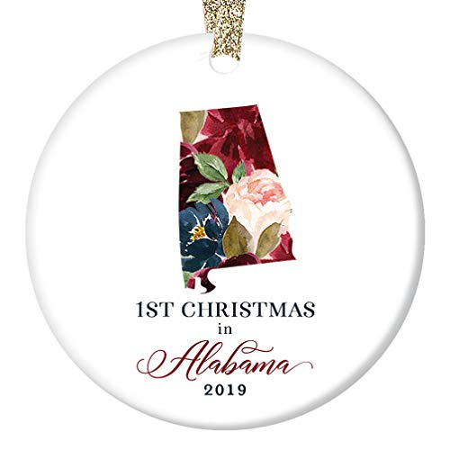 2019 Holiday Ornament Ceramic Collectible 1st First Christmas Living in ALABAMA Tree Decoration Family Friend Present Lovely Floral Blooms 3
